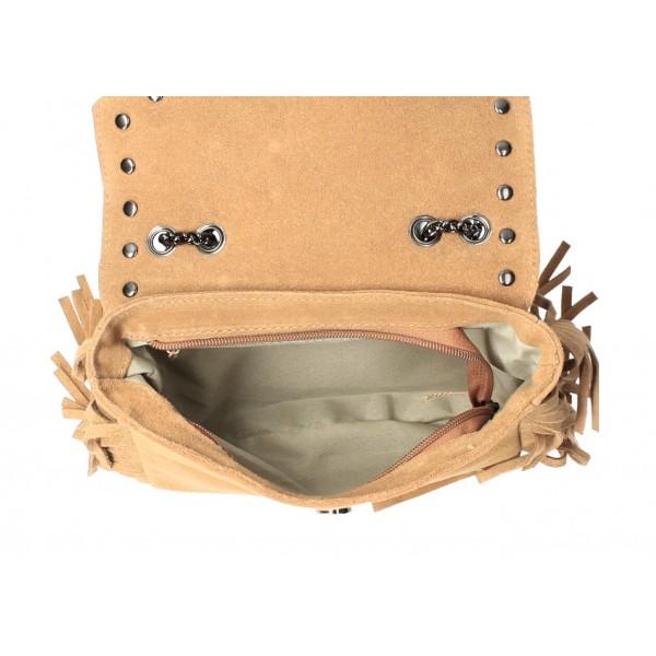 Kožená strapcová kabelka 381 Made in Italy šedá Šedá