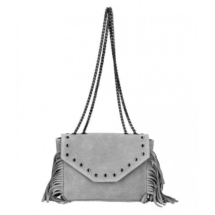 Suede Leather Bag with fringes 381 Made in Italy gray