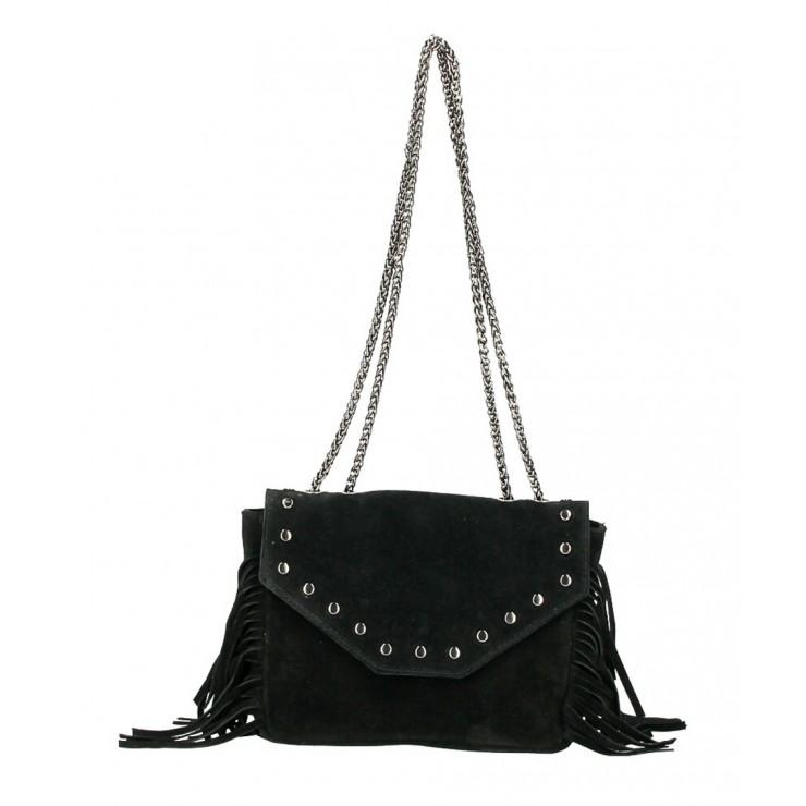 Kožená strapcová kabelka 381 Made in Italy čierna