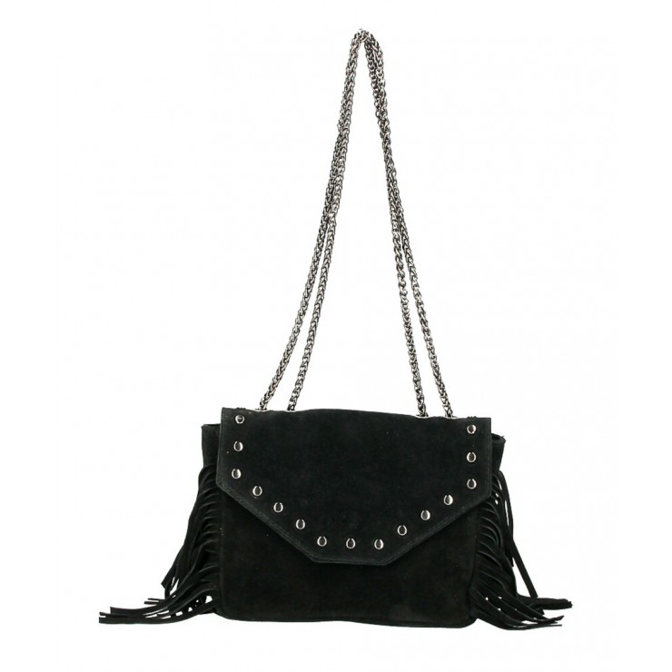 Suede Leather Bag with fringes 381 Made in Italy black