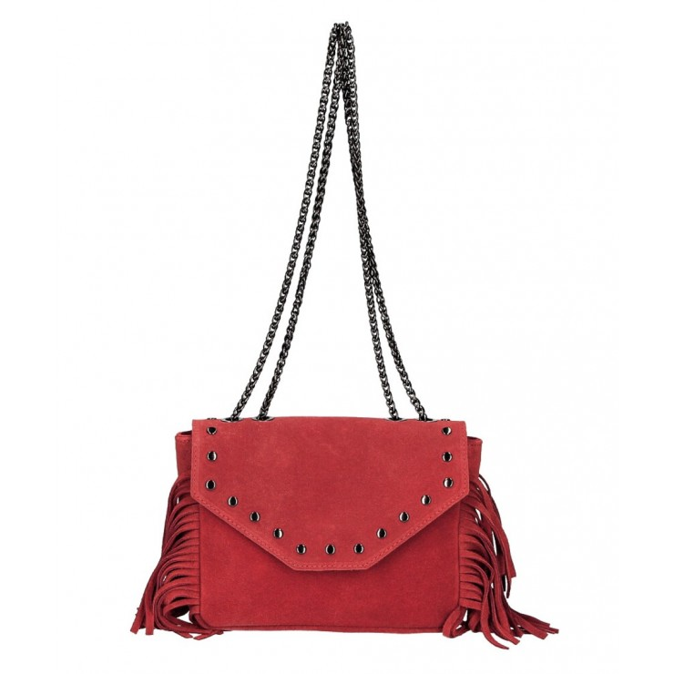Suede Leather Bag with fringes 381 Made in Italy red