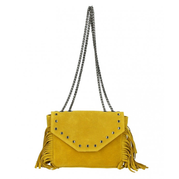 Suede Leather Bag with fringes 381 Made in Italy mustard