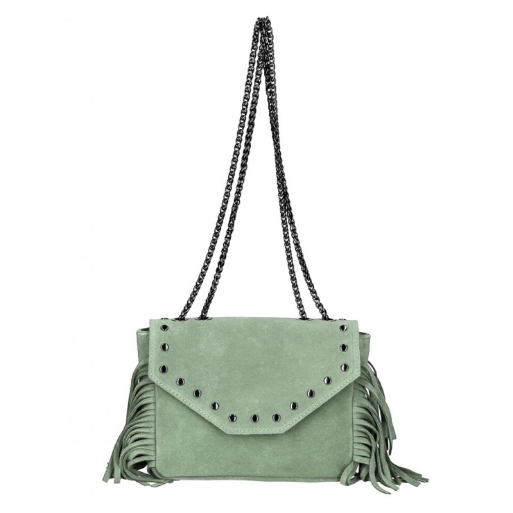 Suede Leather Bag with fringes 381 Made in Italy mint