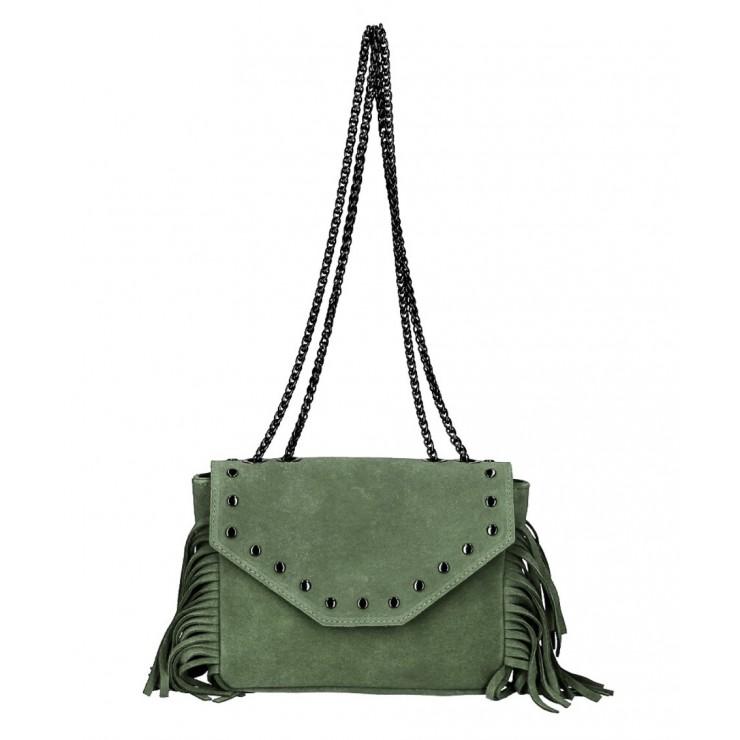 Kožená strapcová kabelka 381 Made in Italy vojensky zelená