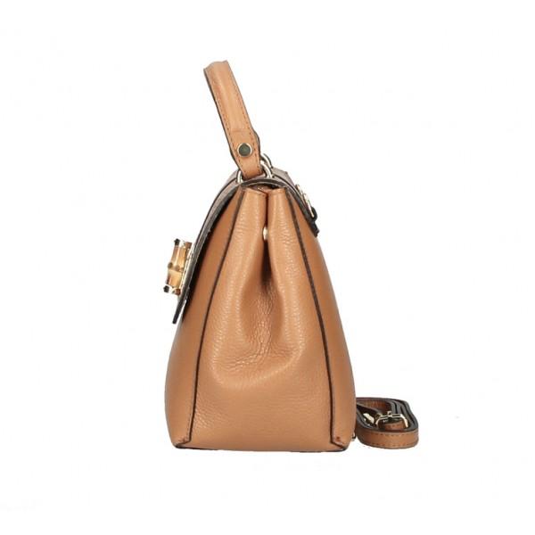 Kožená kabelka 398 Made in Italy béžová Béžová
