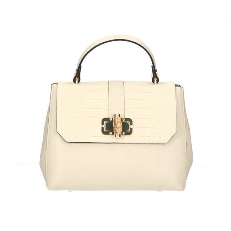 Genuine Leather Handbag 398 Made in Italy beige