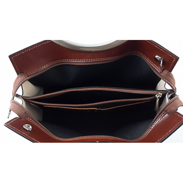Talianska kožená kabelka 90 tmavohnedá