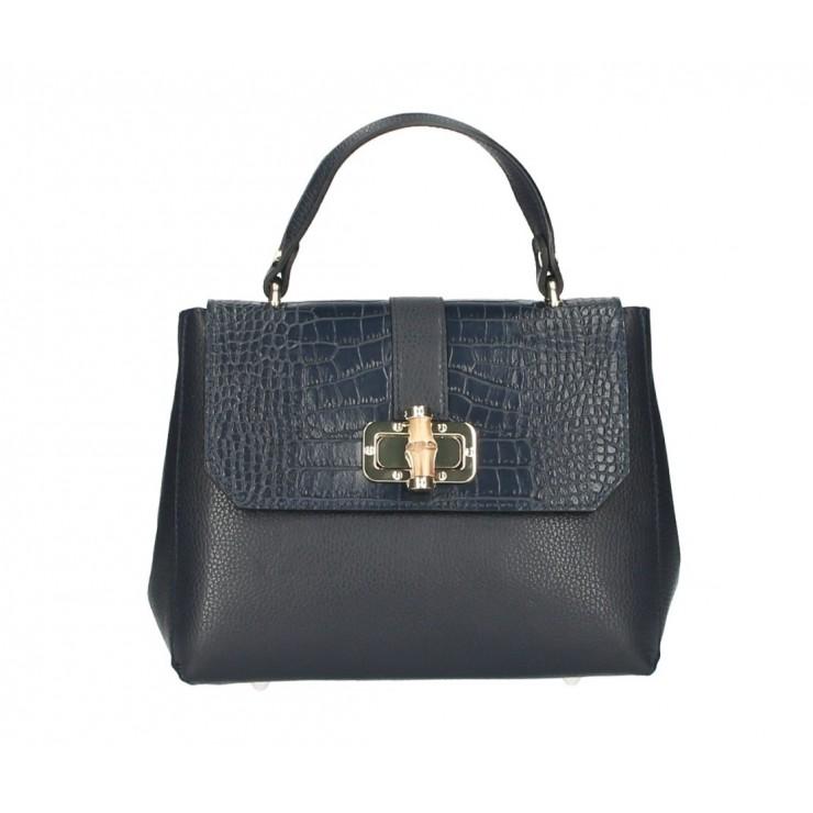 Genuine Leather Handbag 398 Made in Italy dark blue