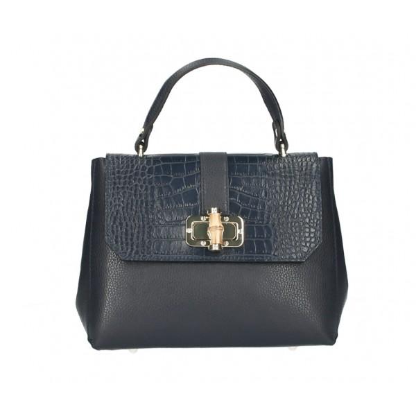 Kožená kabelka 398 Made in Italy tmavomodrá Modrá