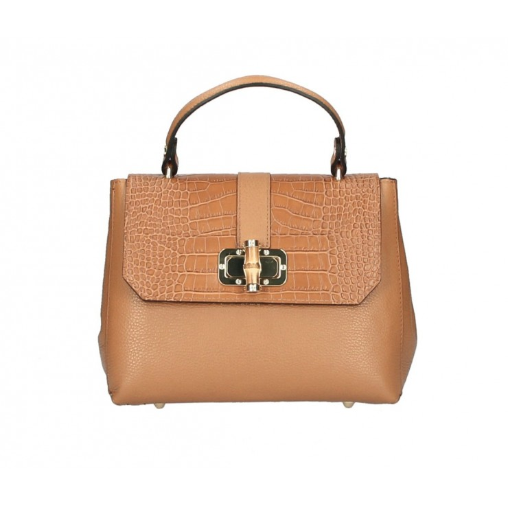 Genuine Leather Handbag 398 Made in Italy cognac
