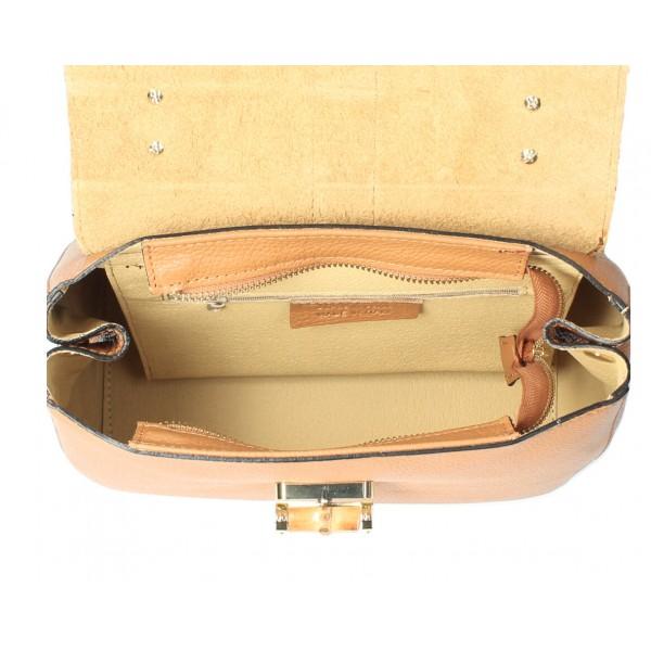 Kožená kabelka 398 Made in Italy šedá Šedá