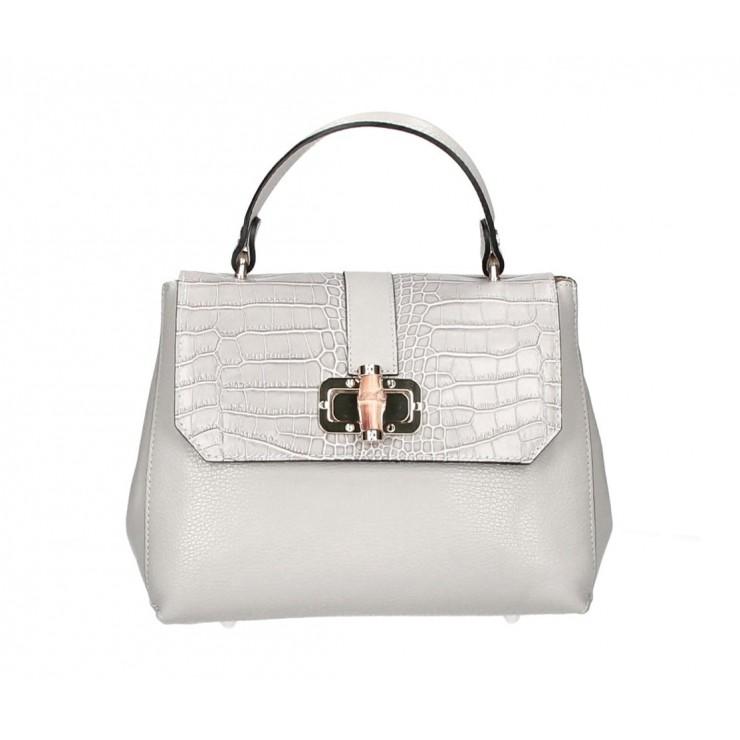 Genuine Leather Handbag 398 Made in Italy gray
