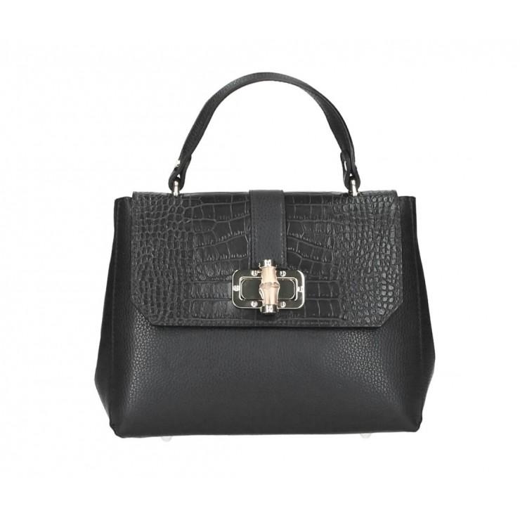 Genuine Leather Handbag 398 Made in Italy black