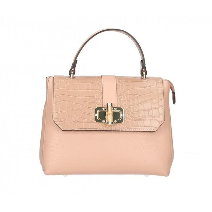 Genuine Leather Handbag 398 Made in Italy powder pink