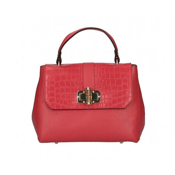 Kožená kabelka 398 Made in Italy červená Červená
