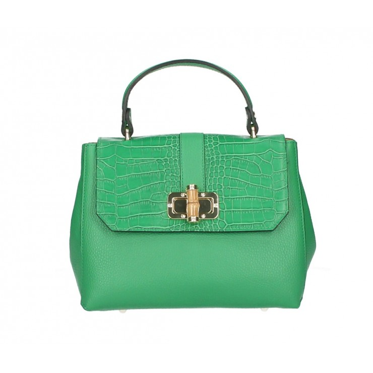 Genuine Leather Handbag 398 Made in Italy green