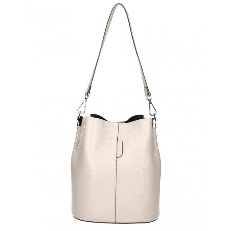 Genuine Leather Handbag 401 Made in Italy beige