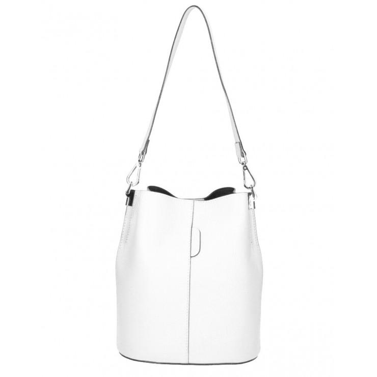 Genuine Leather Handbag 401 Made in Italy white