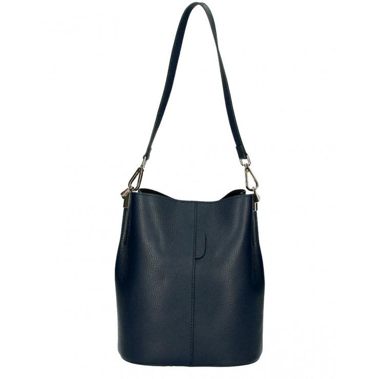 Genuine Leather Handbag 401 Made in Italy dark blue