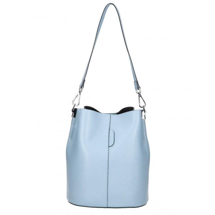 Genuine Leather Handbag 401 Made in Italy sky blue