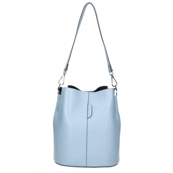 Kožená kabelka 401 Made in Italy nebesky modrá Nebesky modrá