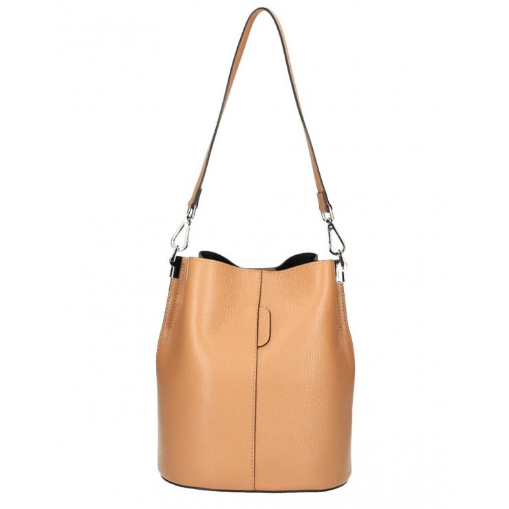 Genuine Leather Handbag 401 Made in Italy cognac