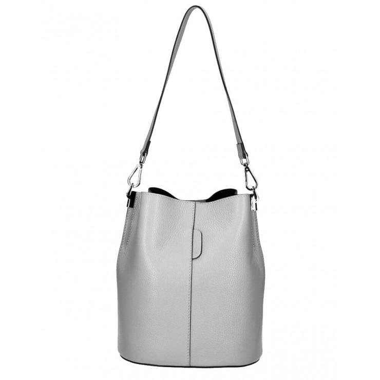 Genuine Leather Handbag 401 Made in Italy gray