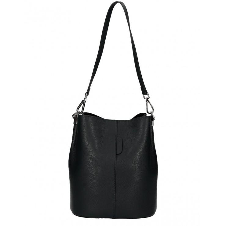 Kožená kabelka 401 Made in Italy čierna