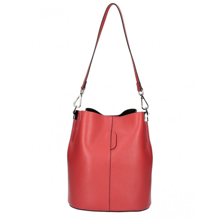 Genuine Leather Handbag 401 Made in Italy red