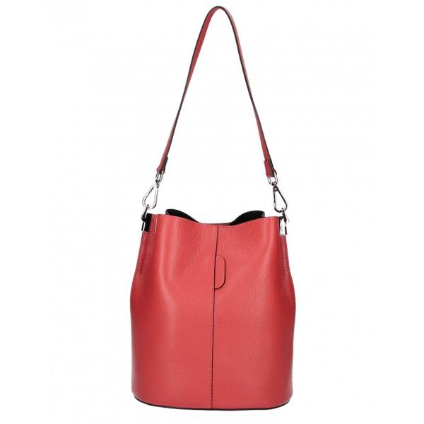 Kožená kabelka 401 Made in Italy červená Červená