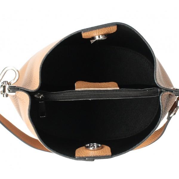 Kožená kabelka 401 Made in Italy šedohnedá Šedohnedá