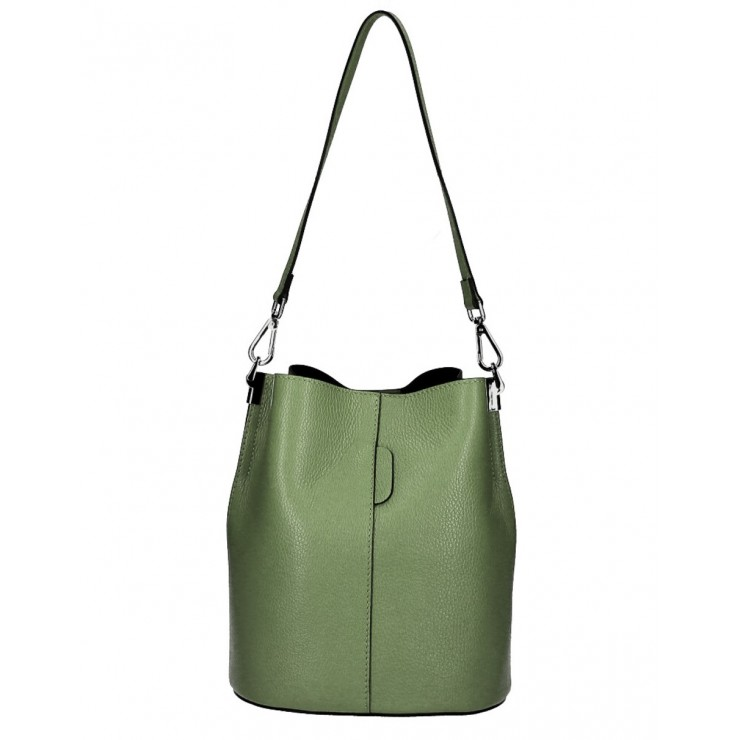 Genuine Leather Handbag 401 Made in Italy military green