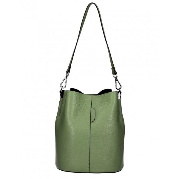 Kožená kabelka 401 Made in Italy vojensky zelená Zelená