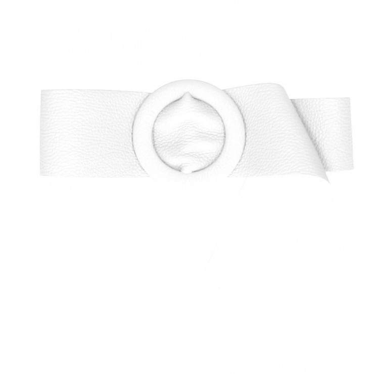 Women leather belt 224 Made in Italy white