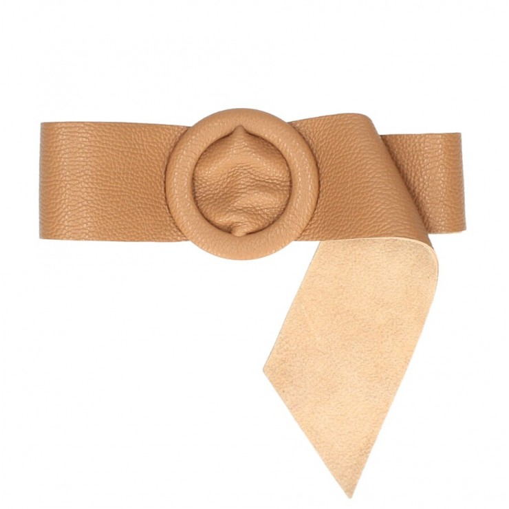 Women leather belt 224 Made in Italy cognac