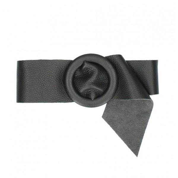 Dámsky kožený opasok 224 Made in Italy čierny Čierna