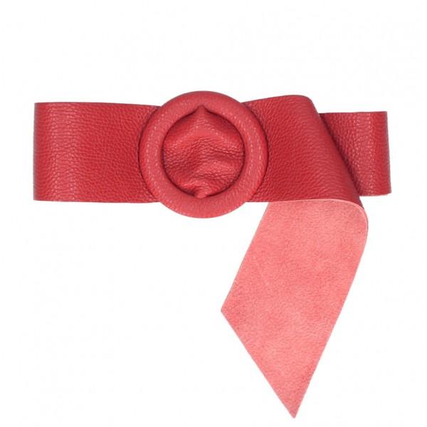 Dámsky kožený opasok 224 Made in Italy červený Červená