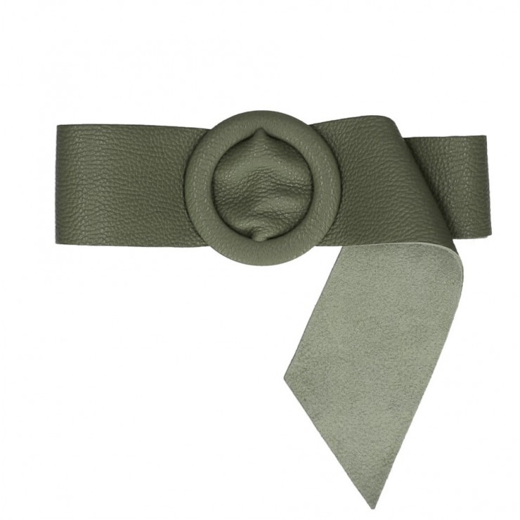 Women leather belt 224 Made in Italy military green