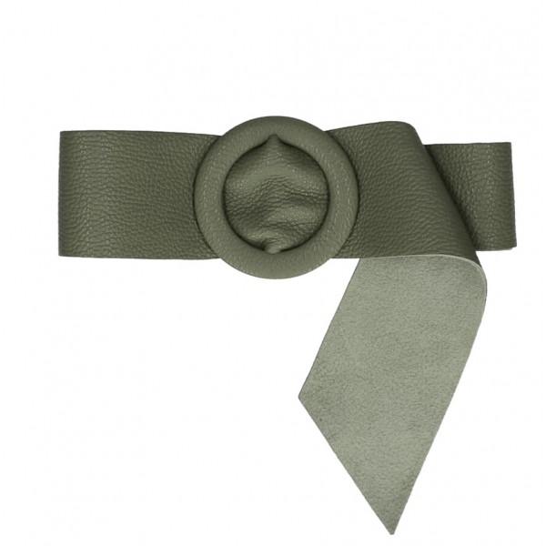 Dámsky kožený opasok 224 Made in Italy vojensky zelený Zelená