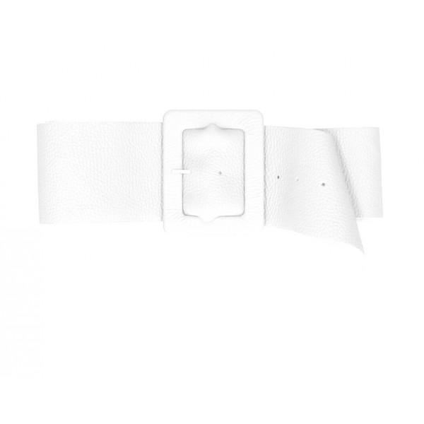Dámsky kožený opasok 339 Made in Italy biely Biela