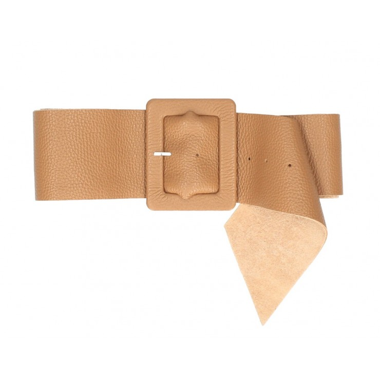 Women leather belt 339 Made in Italy cognac