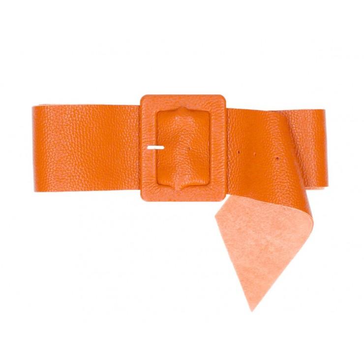 Women leather belt 339 Made in Italy papaya