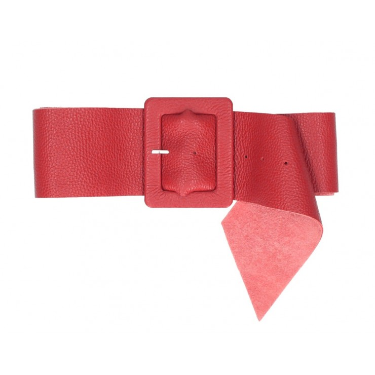 Women leather belt 339 Made in Italy red