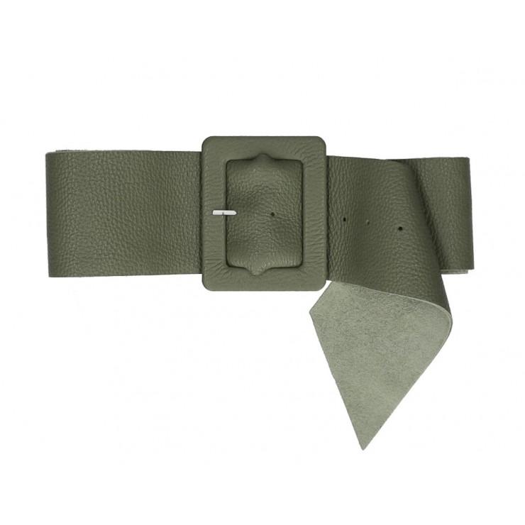 Dámsky kožený opasok 339 Made in Italy vojensky zelený