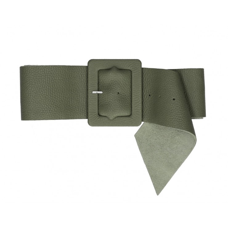 Women leather belt 339 Made in Italy military green
