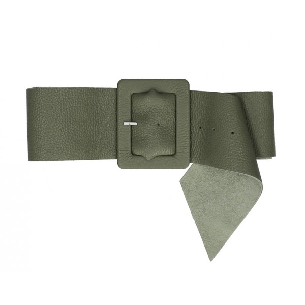 Dámsky kožený opasok 339 Made in Italy vojensky zelený Zelená