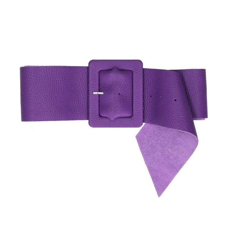 Women leather belt 339 Made in Italy purple