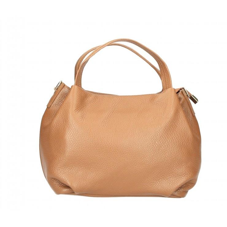 Genuine Leather Handbag 784 cognac