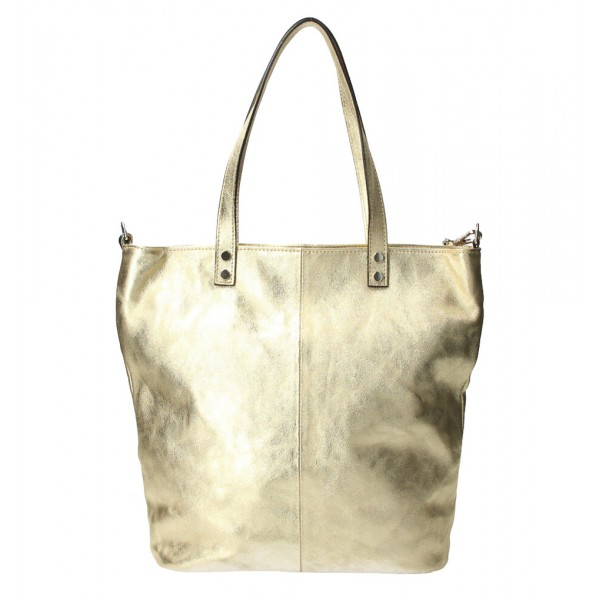 Kožená kabelka na rameno 165 zlatá MADE IN ITALY Zlatá