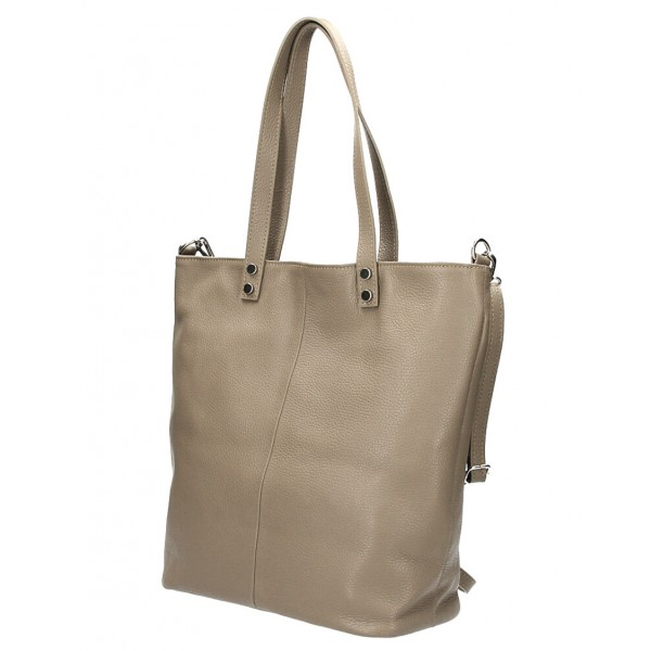 Kožená kabelka na rameno 165 šedohnedá MADE IN ITALY Šedohnedá
